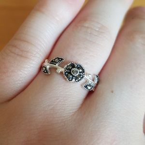Sterling silver and marcasite flower ring